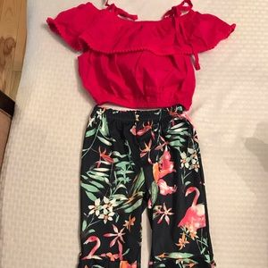 Boutique Crop Top and Bell Pants